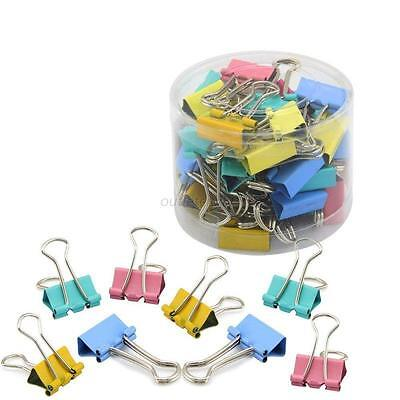 60X Office 15mm Width File Paper Organizer Metal Binder Clips Impressions Colors