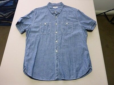076 Mens Nwot Jag Blue Denim Look With White Stitching S/s Shirt Xl $80 Rrp.