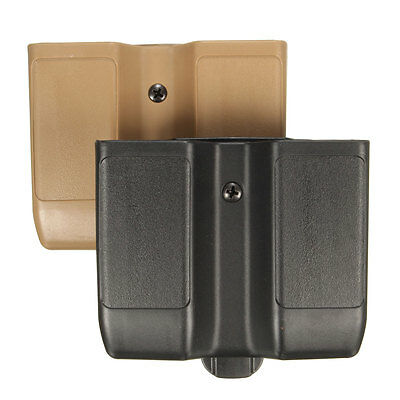 Plastic Double Pistol Magazine Pouch Mag Case Cartridge Clip Holder Black Belt