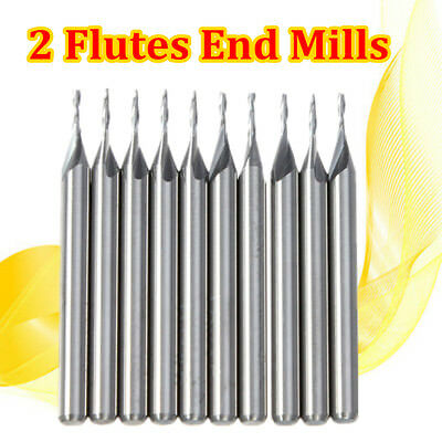 10x 1.0mm 1mm 2 Two Double Flute Carbide Flat Nose End Mills Router Bit 4mm CEL