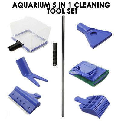 5in1 Aquarium Cleaning Tool Set Fish Tank Maintenance Algae Cleaner Brush UK