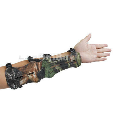 Adjustable PU Leather Shooting Archery Arm Guard Bow Protect 4 Straps Camouflage