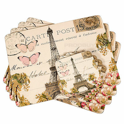 Set of 4 Placemats & Coasters Cork Table Place Settings Mats Shabby Chic Paris