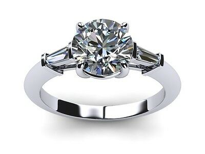 Classic 1.50 ct D//VSS1 Baguette /& Round Channel Set Diamond Wide Band Ring