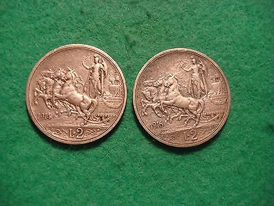 ITALY pair of silver  2 lire coins 1914 & 1916 nice high grade C411
