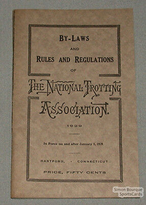 1929 The National Trotting Association Rules Booklet