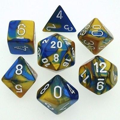 Set 7 dadi CHESSEX Gemini Blue/Gold White Blu/Oro Bianco 26422 Dice CHX