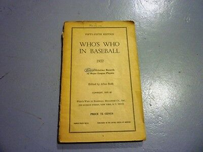 1970 Who's Who In Baseball Book By Allan Roth