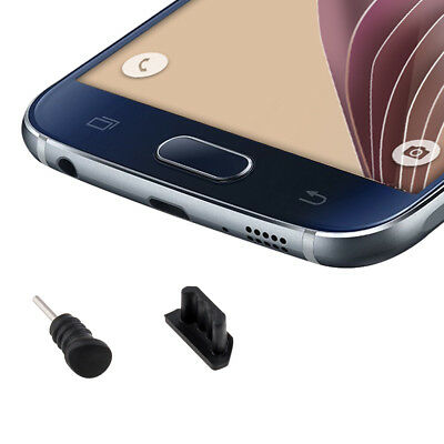 kwmobile DUST PROTECTION SET FOR SMARTPHONES BLACK PLUG PIN PEG PORT DUST