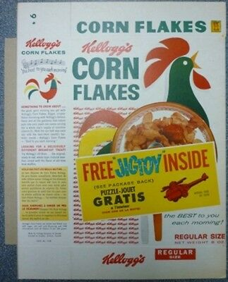 1960 Kellogg's Corn Flakes Free Jigtoy Cereal Box