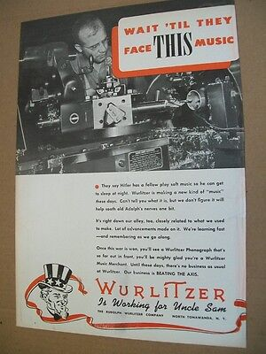 Wurlitzer phonograph 1942 WWII patriotic Ad- has a new kind of music for Hitler