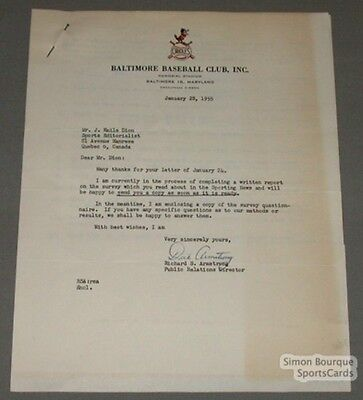 1955 Baltimore Orioles Richard Armstrong Signed Letter