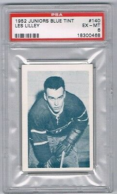 1952-53 Juniors Blue Tint Hockey Card Montreal #140 Les Lilley Graded PSA 6