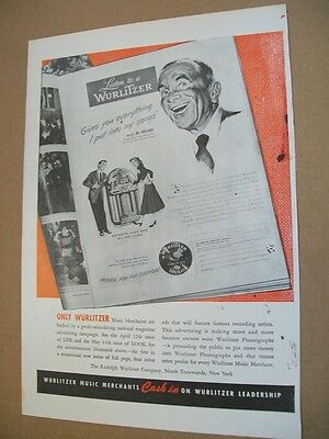 Wurlitzer phonograph 1948 Ad- gives you everything- Al Jolson