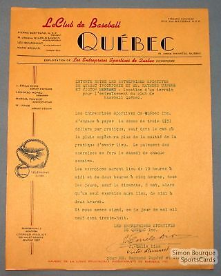 1940's Quebec Athletics Signed Baseball Park Contract
