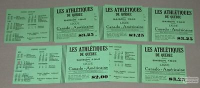 1942 Can-Am Quebec Athletics Lot of 5 Baseball Tickets