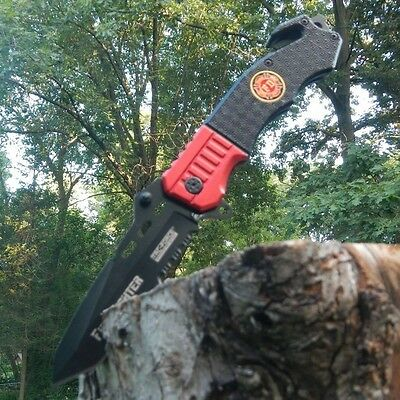 TAC-FORCE Assisted Opening Rescue FIRE DEPT Red Belt Cutter Glass Breaker Knife