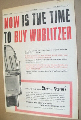 Wurlitzer Stereophonic phonograph 1958 Ad- now is the time