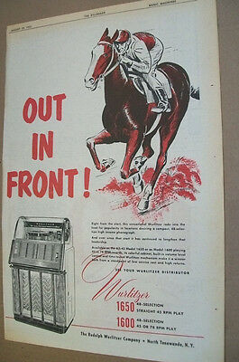 Wurlitzer 1650 & 1600 phonograph 1953 Ad- out in front/ jockey on race horse