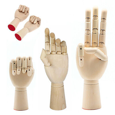 Right Left Hand Wooden Model Sketching Drawing Jointed Movable Fingers Mannequin