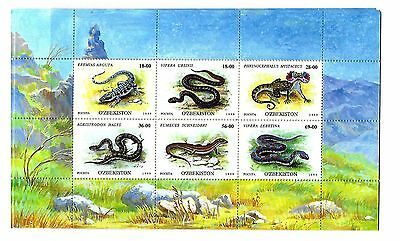UZBEKISTAN Sc 185 NH ISSUE of 1999 Sheet of 6 - Reptiles Snakes