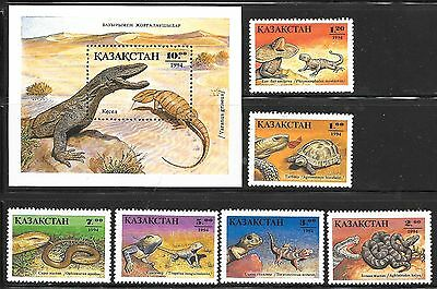 KAZAKHSTAN SC 83-9 NH issue of 1994 SET+SOUVENIR SHEET - Reptiles
