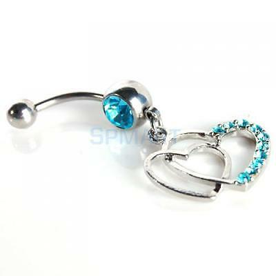 Sexy CZ Double HEART Belly Button Navel Ring Dangle Piercing Jewelry Gem Bars