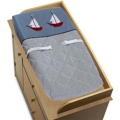 Sweet Jojo Changing Table Pad Cover for Come Sail Away Nautical Baby Bedding Set
