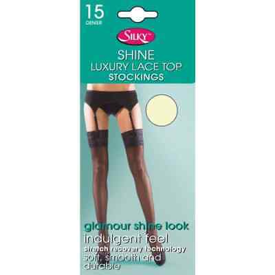 15 Denier Super Shine Stocking Stockings Lace Top Silky Various Colours