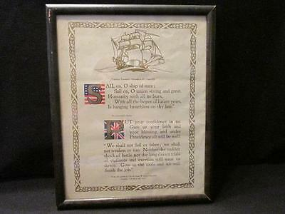 Sail On Ship of State FDr Message to Mr Churchill & Churchill's Reply Framed