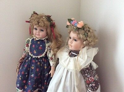 Porcelain Character Dolls Country Style Floral Dresses Flower Basket