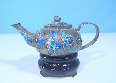 Antique Cloisonne Hand Crafted Miniature Teapot On Wood Stand c1960s  rtired ee