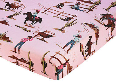 Sweet Jojo Design Western Girl Crib or Toddler Fitted Sheet-Cowgirl Print Cotton