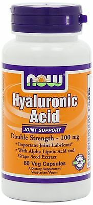 NOW FOODS | Hyaluronic Acid | 100mg Double Strength | 60 Capsule | JOINT SUPPORT