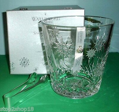 Waterford Snowflake Wish Crystal Ice Bucket & Tongs Wishes For Joy 1st Edit. New