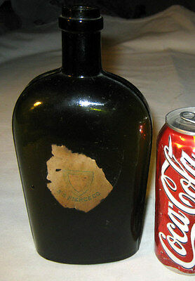 Antique Primitive New England Ss Pierce Flask Olive Glass Art Bottle Paper Label