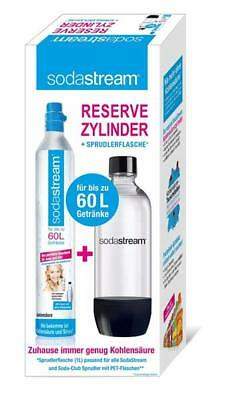 Sodastream CO2 Zylinder 60L + PET Karaffe Flasche 1 Liter Soda Club Sprudler