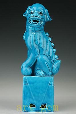 Big Blue Porcelain Lion Statue Home Decoration Gifts Collectible