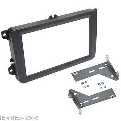 Ct24Vw12 Volkswagen Touran 2003 Onwards Black Double Din Fascia Frame & Brackets