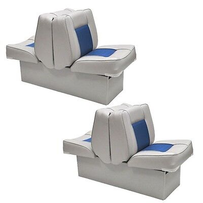 Custom Gray Blue Back To Back Marine Boat Lounge Recliner Seat (Pair) 75112GB