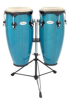 TOCA SYNERGY WOOD CONGA DRUM PERCUSSION SET w/ DOUBLE STAND - BAHAMA BLUE