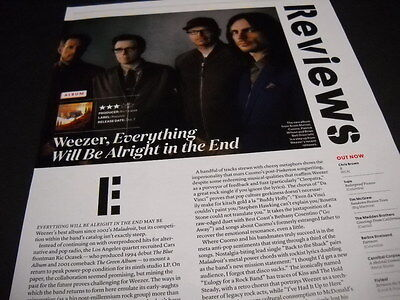 WEEZER 2104 music biz promo only album review EVERYTHING WILL BE full page piece