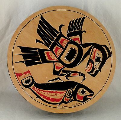 Clarence Wells Wood Hoop Drum Box Haida Art Thunderbird/eagle/salmon Signed