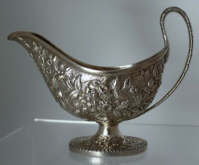 S. Kirk & Son Coin Silver Repousse Sauce Gravy Boat (1846-1868)