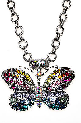 Kirks Folly RAINBOW BUTTERFLY MAGNETIC ENHANCER with CHAIN NECKLACE silvertone