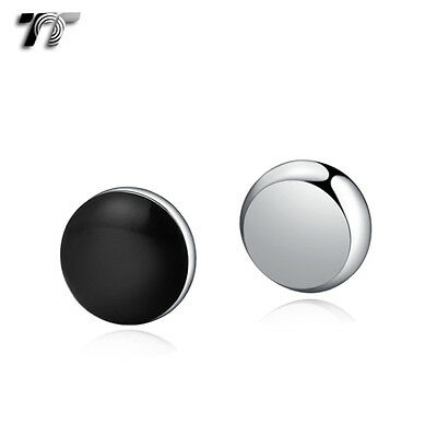 TT 10mm Black Stainless Steel Round Magnet Earrings (BM04) NEW