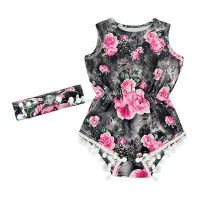 Summer 0-3Y Baby Kid Girls Floral Romper Jumpsuit Bodysuit Clothes +Headband Set