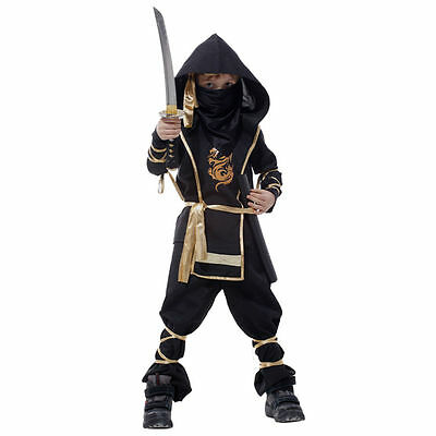 3-12 Year Old Kids Dragon Ninja Halloween Party Costume Suit Fancy Dress Cosplay