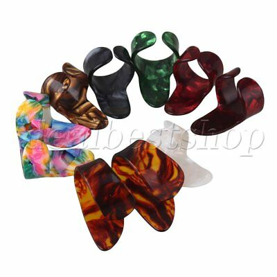 10x Multicolor Guitar Celluloid Finger Picks Thumbpicks Nail Protectors