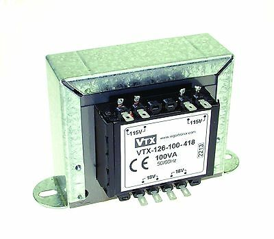 2X18V 100VA Chassis Mounting Mains Transformer Double Secondary Winding New